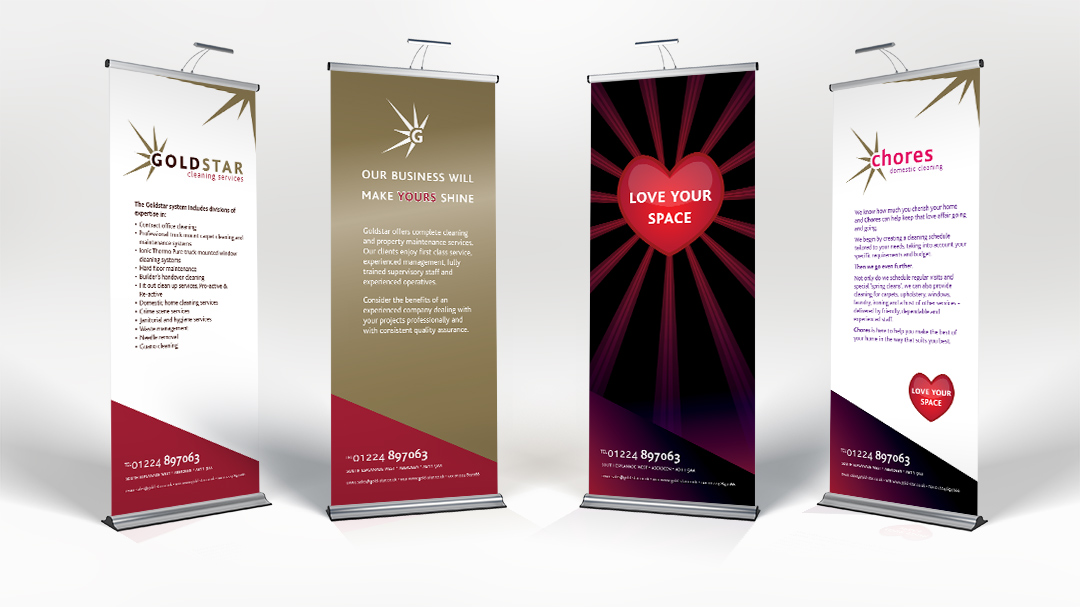 gold star and chores exhibition banners