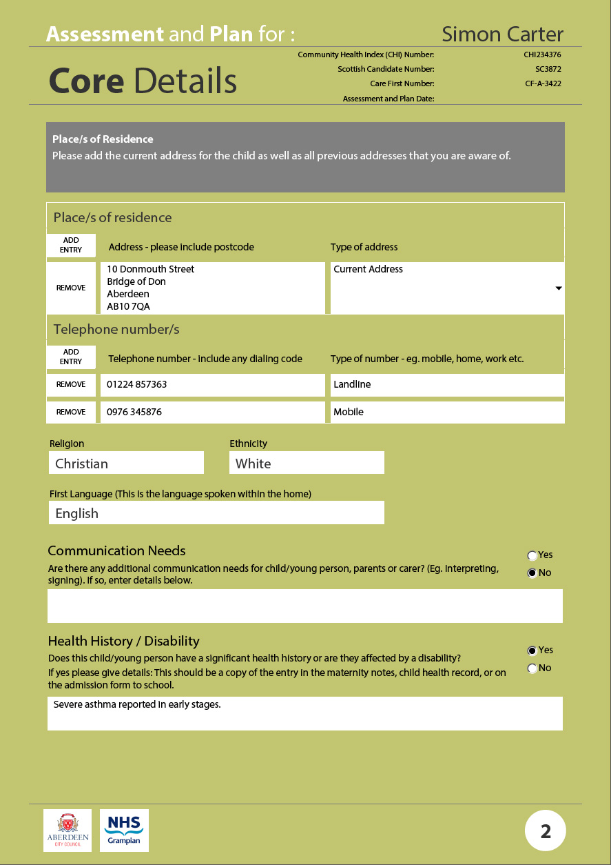 Assessment and Plan core details 2